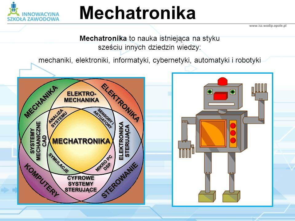 Mechatronika Mechatronika to nauka istniejąca na styku sześciu innych dziedzin wiedzy: mechaniki, elektroniki, informatyki, cybernetyki, automatyki i