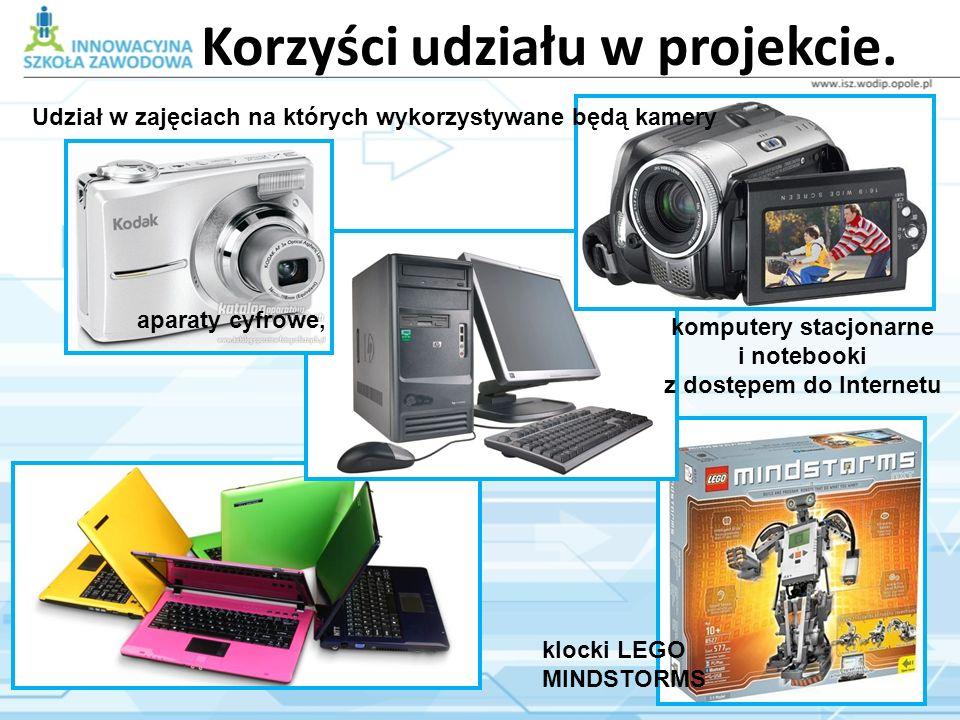 Korzyści udziału w projekcie. Udział w zajęciach na których wykorzystywane będą kamery aparaty cyfrowe, komputery stacjonarne i notebooki z dostępem d