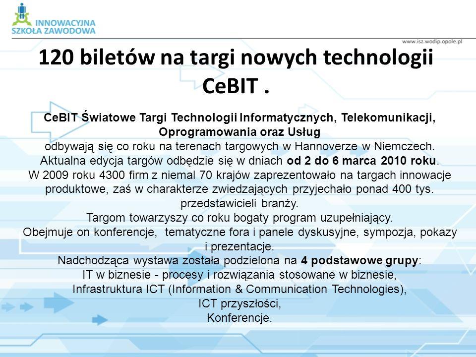 120 biletów na targi nowych technologii CeBIT. CeBIT Światowe Targi Technologii Informatycznych, Telekomunikacji, Oprogramowania oraz Usług odbywają s