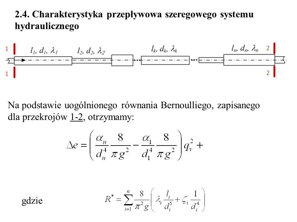 2.4. Charakterystyka przepływowa szeregowego systemu hydraulicznego Na podstawie uogólnionego równania Bernoulliego, zapisanego dla przekrojów 1-2, ot