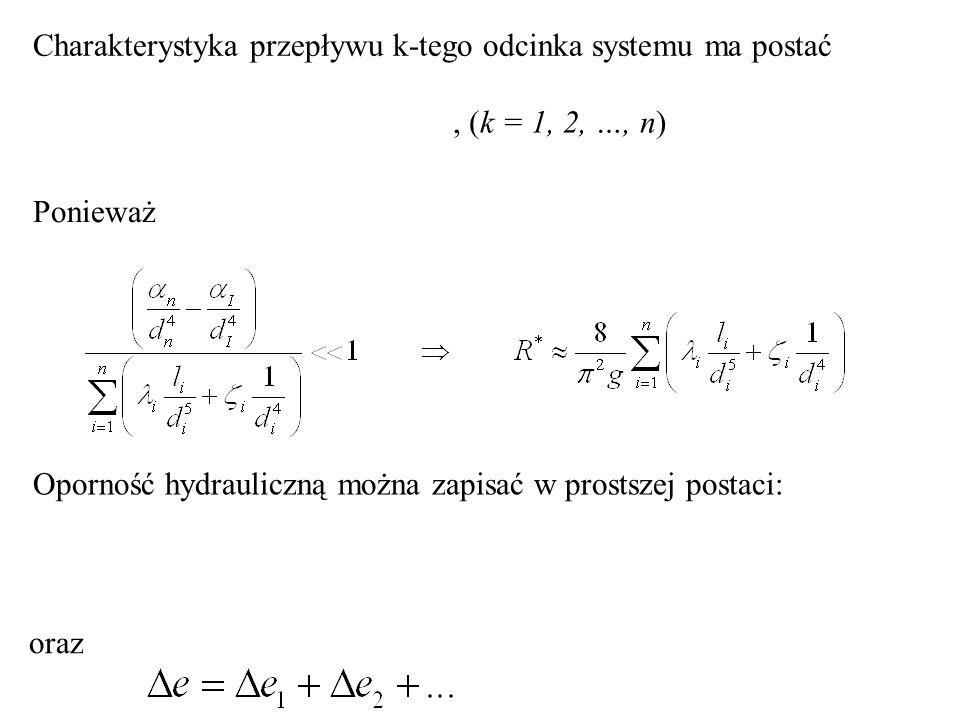 Charakterystyka przepływu k-tego odcinka systemu ma postać, (k = 1, 2, …, n) Ponieważ Oporność hydrauliczną można zapisać w prostszej postaci: oraz