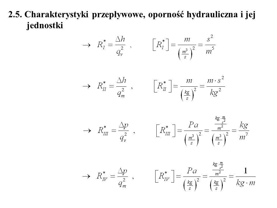 2.5. Charakterystyki przepływowe, oporność hydrauliczna i jej jednostki