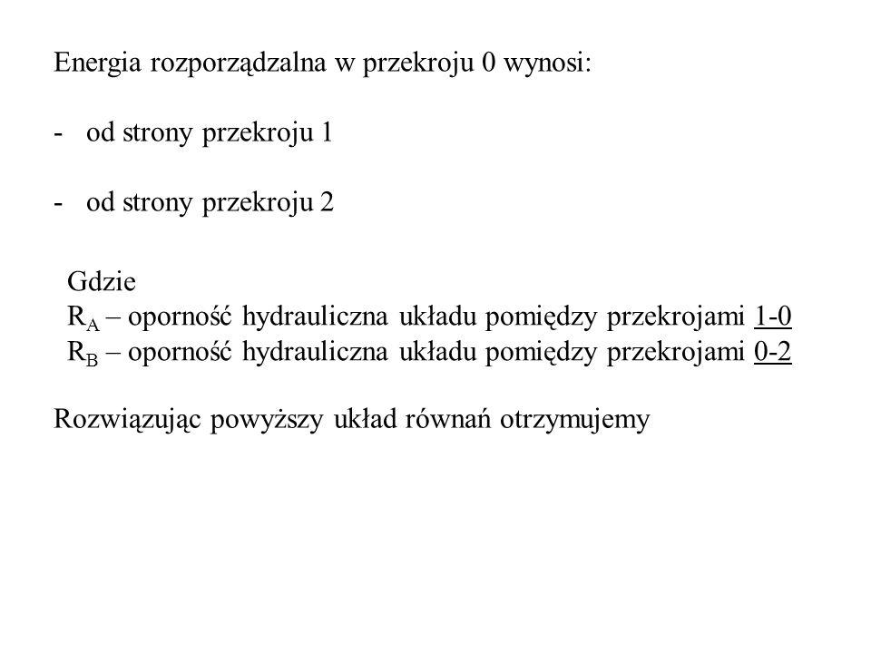 Energia rozporządzalna w przekroju 0 wynosi: -od strony przekroju 1 -od strony przekroju 2 Gdzie R A – oporność hydrauliczna układu pomiędzy przekroja