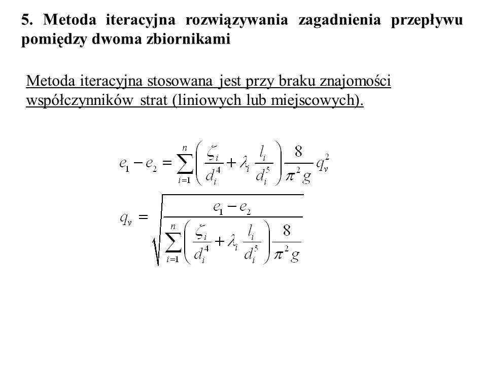 5. Metoda iteracyjna rozwiązywania zagadnienia przepływu pomiędzy dwoma zbiornikami Metoda iteracyjna stosowana jest przy braku znajomości współczynni