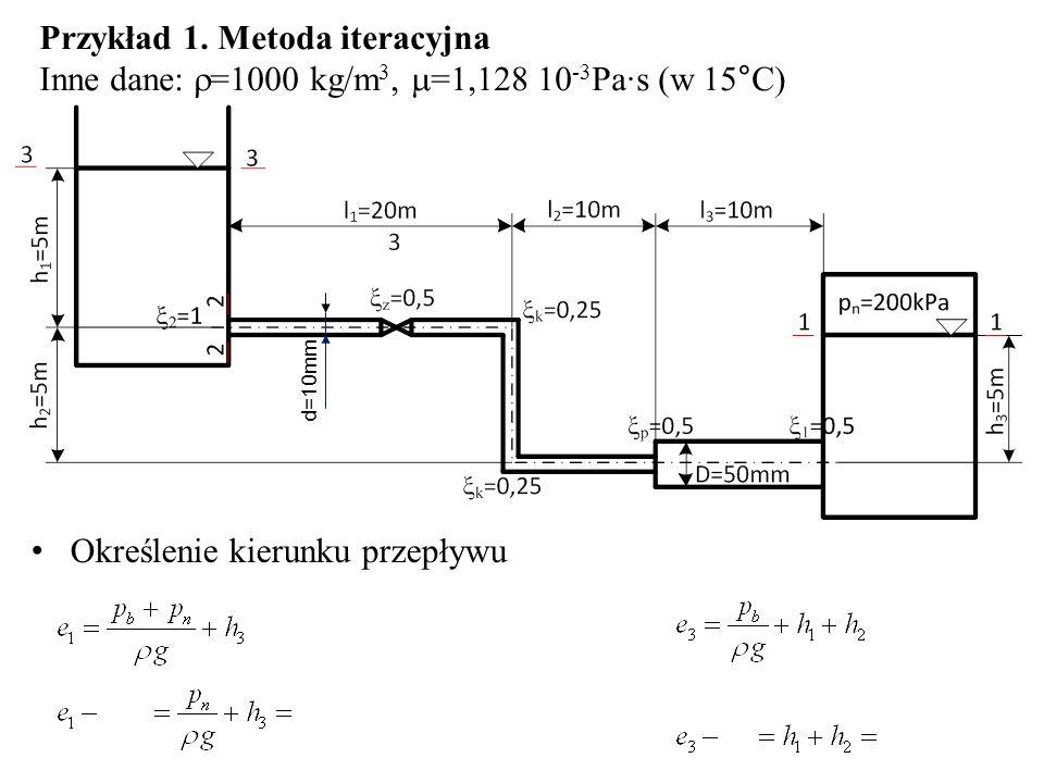 Przykład 1. Metoda iteracyjna Inne dane: =1000 kg/m 3, =1,128 10 -3 Pa·s (w 15°C) Określenie kierunku przepływu d=10mm