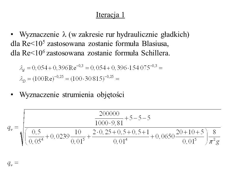Wyznaczenie (w zakresie rur hydraulicznie gładkich) dla Re<10 5 zastosowana zostanie formuła Blasiusa, dla Re<10 6 zastosowana zostanie formuła Schill