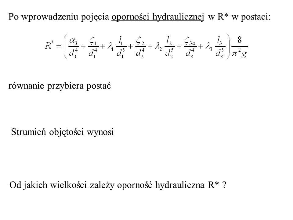 równanie przybiera postać Strumień objętości wynosi Od jakich wielkości zależy oporność hydrauliczna R* ? Po wprowadzeniu pojęcia oporności hydraulicz