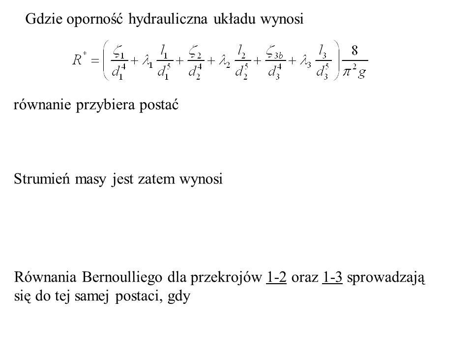 Gdzie oporność hydrauliczna układu wynosi równanie przybiera postać Strumień masy jest zatem wynosi Równania Bernoulliego dla przekrojów 1-2 oraz 1-3