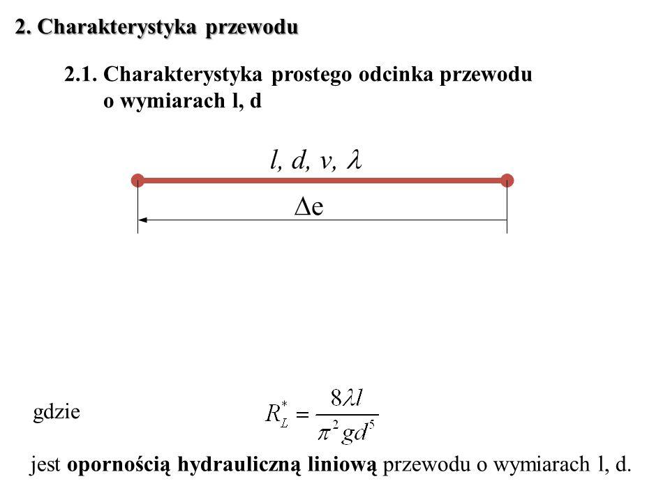 2. Charakterystyka przewodu 2.1. Charakterystyka prostego odcinka przewodu o wymiarach l, d gdzie jest opornością hydrauliczną liniową przewodu o wymi