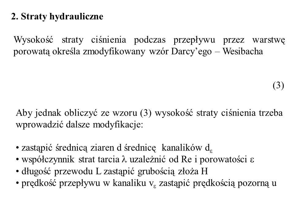 2. Straty hydrauliczne Wysokość straty ciśnienia podczas przepływu przez warstwę porowatą określa zmodyfikowany wzór Darcyego – Wesibacha (3) Aby jedn