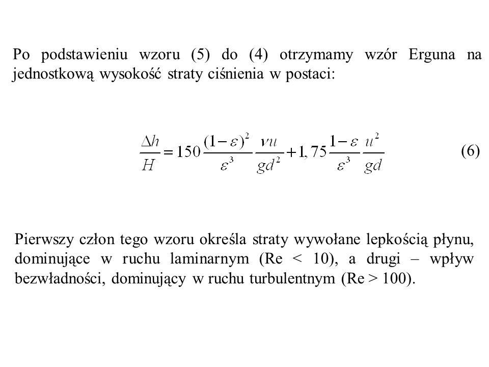 Po podstawieniu wzoru (5) do (4) otrzymamy wzór Erguna na jednostkową wysokość straty ciśnienia w postaci: (6) Pierwszy człon tego wzoru określa strat