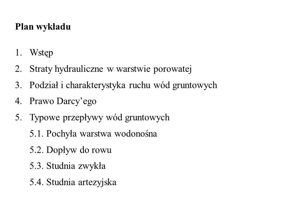 Plan wykładu 1.Wstęp 2.Straty hydrauliczne w warstwie porowatej 3.Podział i charakterystyka ruchu wód gruntowych 4.Prawo Darcyego 5.Typowe przepływy w