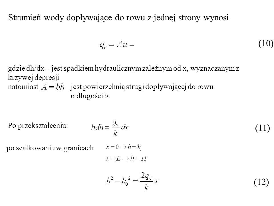 Strumień wody dopływające do rowu z jednej strony wynosi (10) gdzie dh/dx – jest spadkiem hydraulicznym zależnym od x, wyznaczanym z krzywej depresji