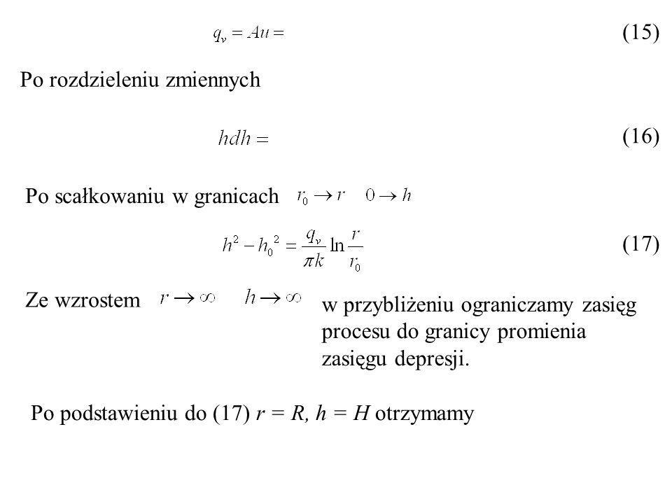 (15) Po rozdzieleniu zmiennych (16) Po scałkowaniu w granicach (17) Ze wzrostem w przybliżeniu ograniczamy zasięg procesu do granicy promienia zasięgu