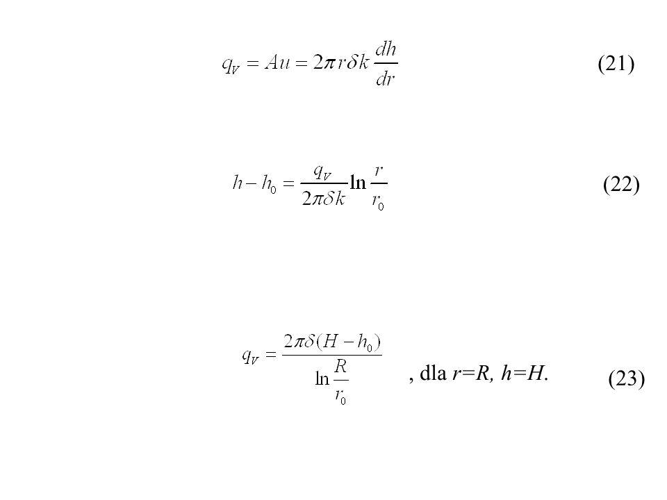 (21) (22), dla r=R, h=H. (23)