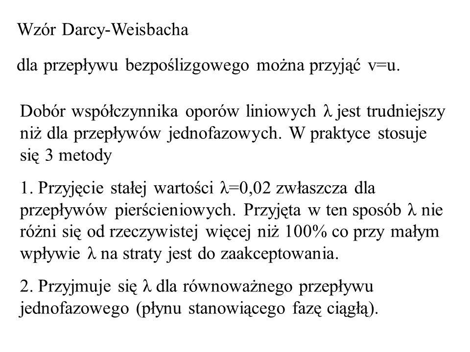 Wzór Darcy-Weisbacha dla przepływu bezpoślizgowego można przyjąć v=u. Dobór współczynnika oporów liniowych λ jest trudniejszy niż dla przepływów jedno