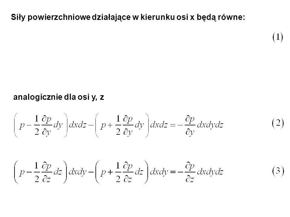 Suma tych różnic równa się zmianie masy zawartej w objętości prostopadłościanu wskutek zmiany gęstości czyli Porównując równanie (32) z sumą równań (29-31) otrzymamy po podzieleniu przez dx dy dz dt otrzymamy Jest to równanie ciągłości w formie Eulera dla ruchu płynu ściśliwego