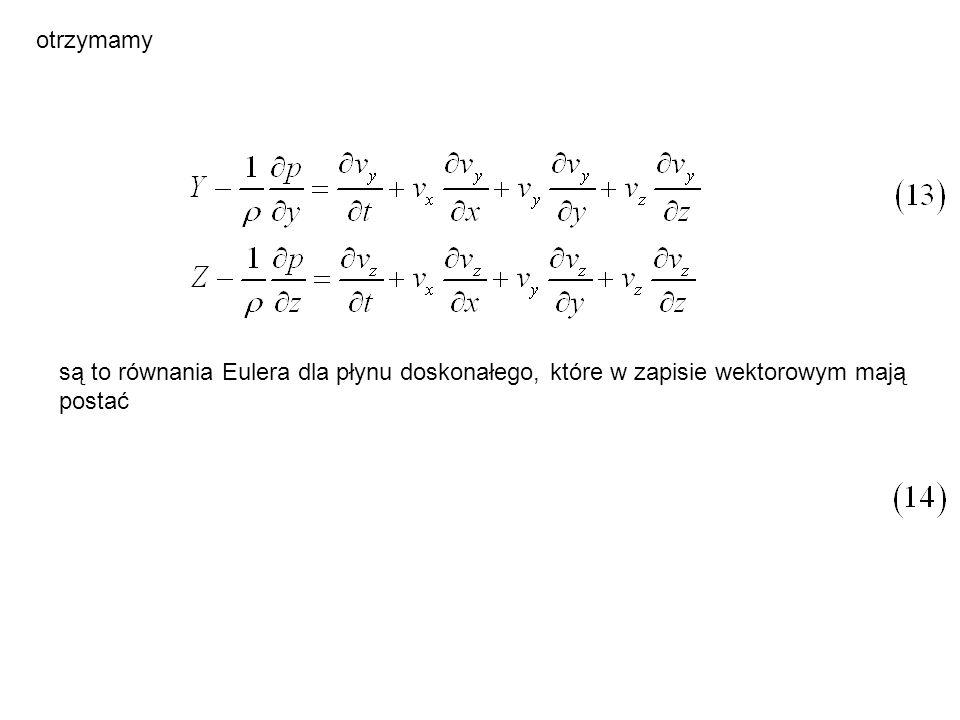 Całkowita energia przepływająca w czasie dt przez przekrój 1-1 wynosi a przez przekrój 2-2 (43) (44) Ponieważ ruch odbywa się bez strat energetycznych, to: (45) zatem (46)