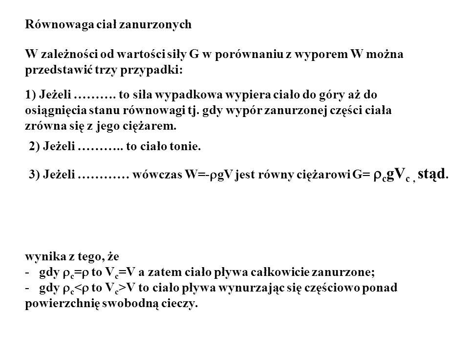 Równowaga ciał zanurzonych W zależności od wartości siły G w porównaniu z wyporem W można przedstawić trzy przypadki: 1) Jeżeli ………. to siła wypadkowa
