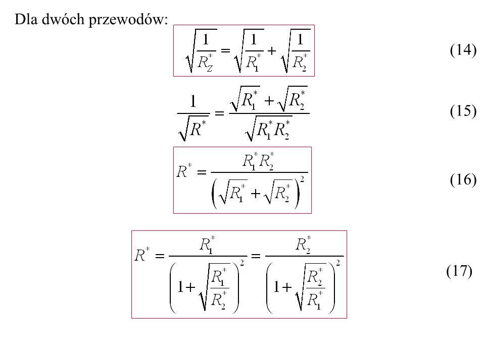 Dla dwóch przewodów: (14) (17) (15) (16)
