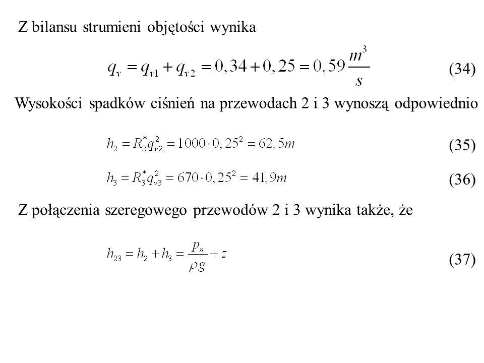 Z bilansu strumieni objętości wynika Wysokości spadków ciśnień na przewodach 2 i 3 wynoszą odpowiednio Z połączenia szeregowego przewodów 2 i 3 wynika