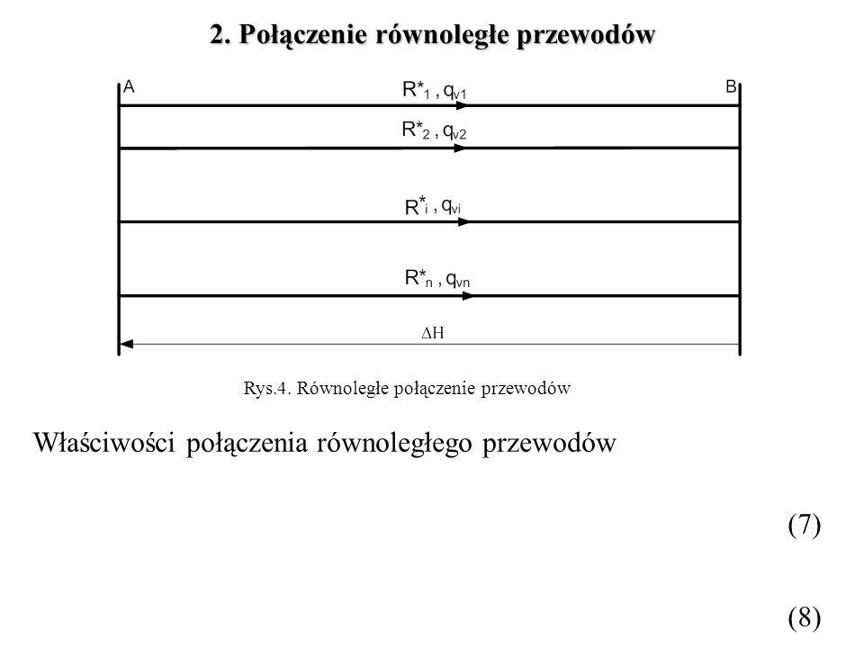 Rys.4. Równoległe połączenie przewodów 2. Połączenie równoległe przewodów Właściwości połączenia równoległego przewodów (7) (8)
