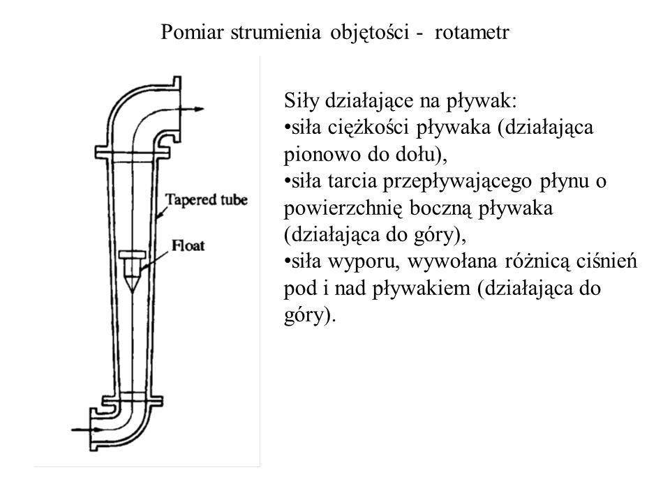 Pomiar strumienia objętości - rotametr Siły działające na pływak: siła ciężkości pływaka (działająca pionowo do dołu), siła tarcia przepływającego pły