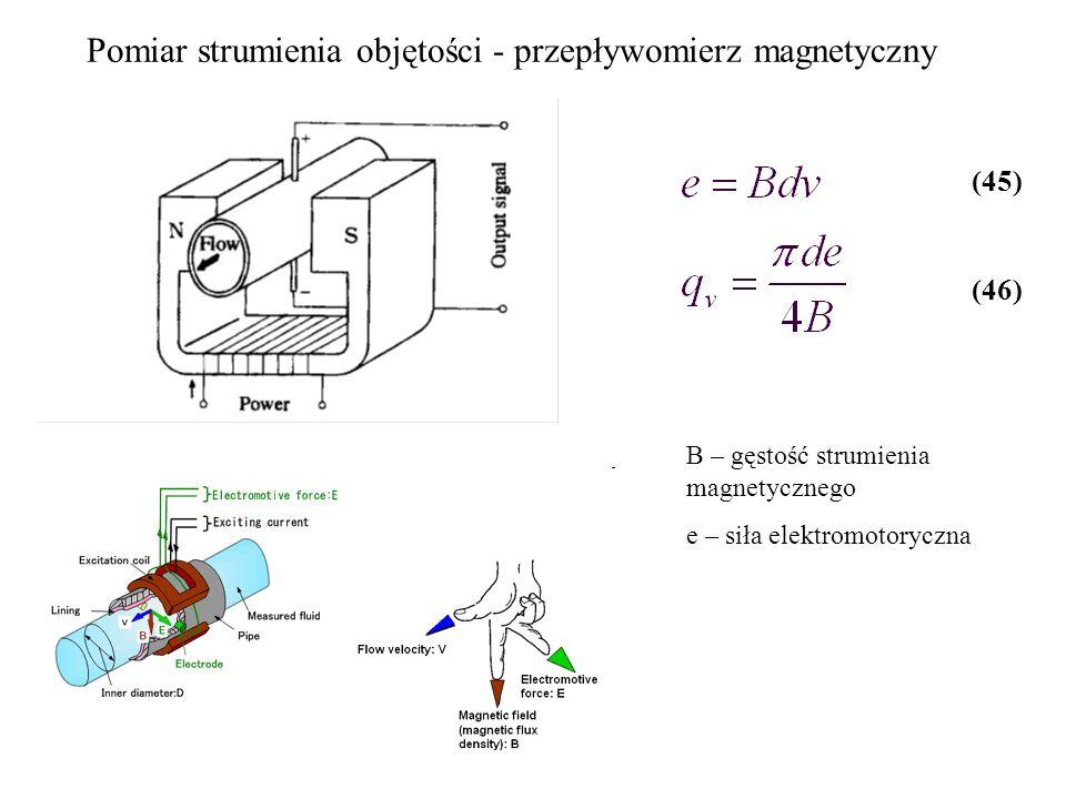 Pomiar strumienia objętości - przepływomierz magnetyczny B – gęstość strumienia magnetycznego e – siła elektromotoryczna (45) (46)