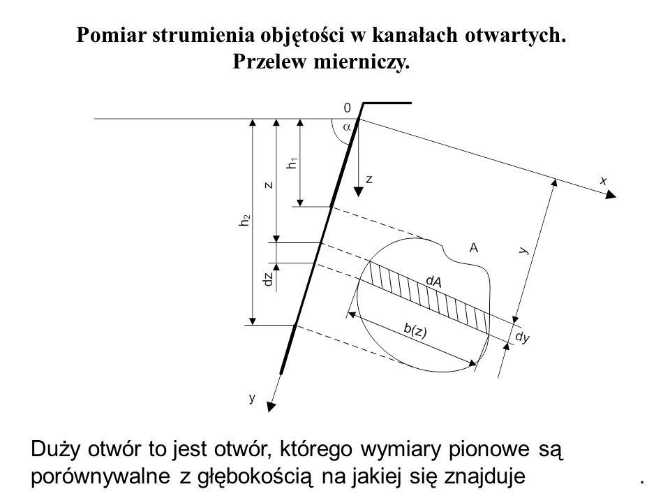 Pomiar strumienia objętości w kanałach otwartych. Przelew mierniczy. Duży otwór to jest otwór, którego wymiary pionowe są porównywalne z głębokością n