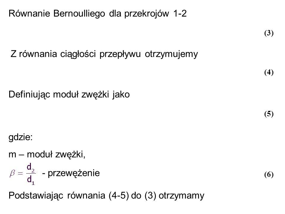 Równanie Bernoulliego dla przekrojów 1-2 Z równania ciągłości przepływu otrzymujemy Definiując moduł zwężki jako gdzie: m – moduł zwężki, - przewężeni