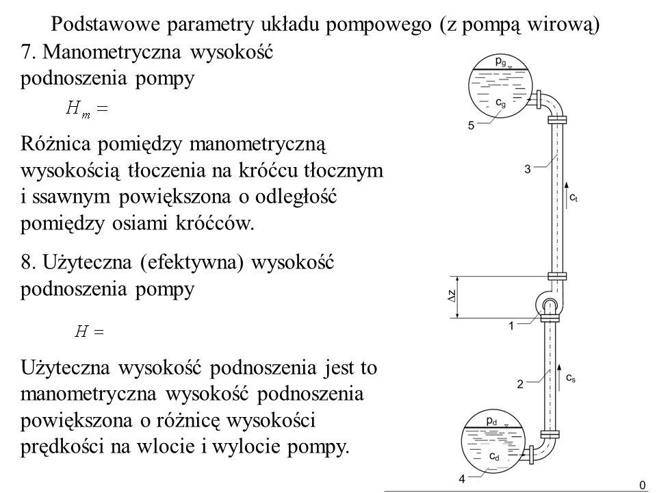 7. Manometryczna wysokość podnoszenia pompy Różnica pomiędzy manometryczną wysokością tłoczenia na króćcu tłocznym i ssawnym powiększona o odległość p