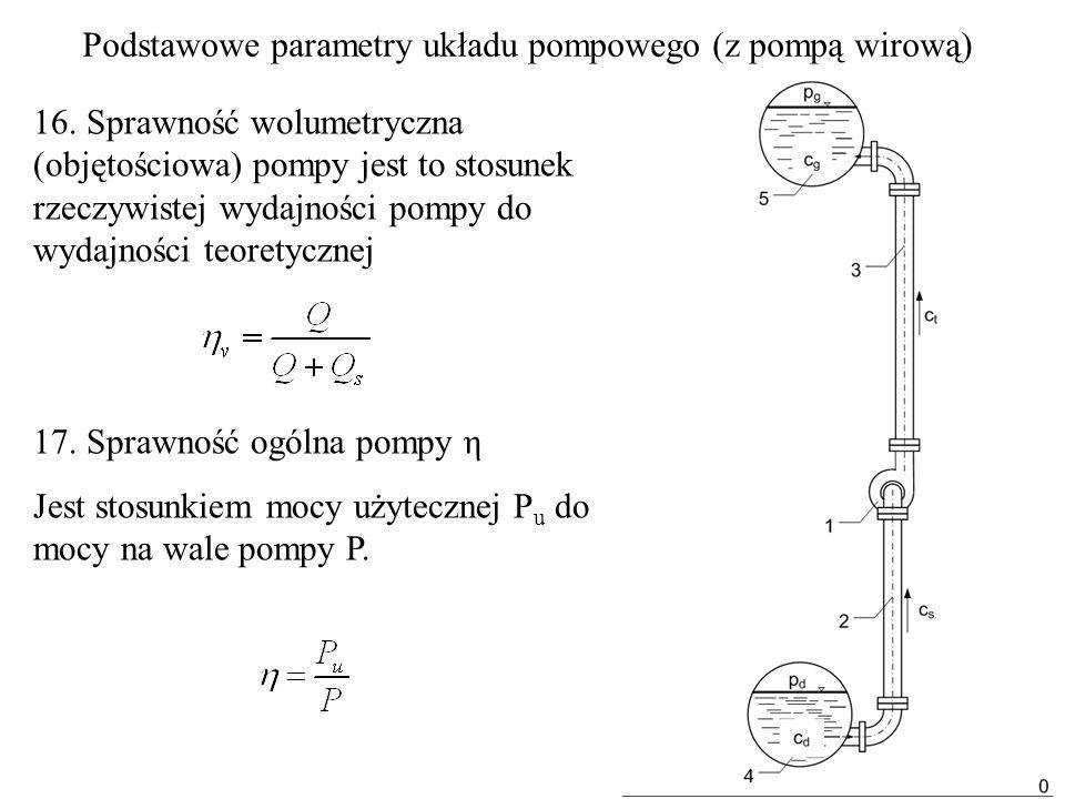16. Sprawność wolumetryczna (objętościowa) pompy jest to stosunek rzeczywistej wydajności pompy do wydajności teoretycznej 17. Sprawność ogólna pompy