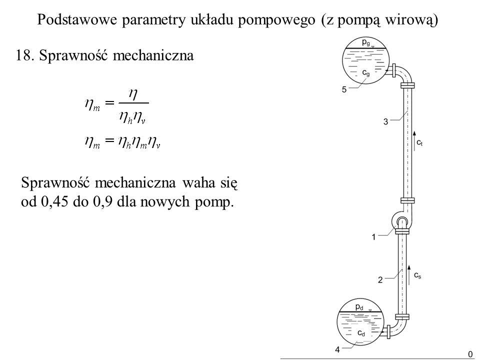 18. Sprawność mechaniczna Sprawność mechaniczna waha się od 0,45 do 0,9 dla nowych pomp. Podstawowe parametry układu pompowego (z pompą wirową)