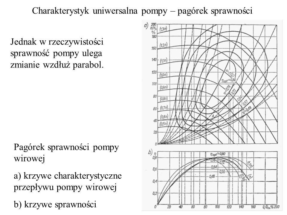 Jednak w rzeczywistości sprawność pompy ulega zmianie wzdłuż parabol. Charakterystyk uniwersalna pompy – pagórek sprawności Pagórek sprawności pompy w