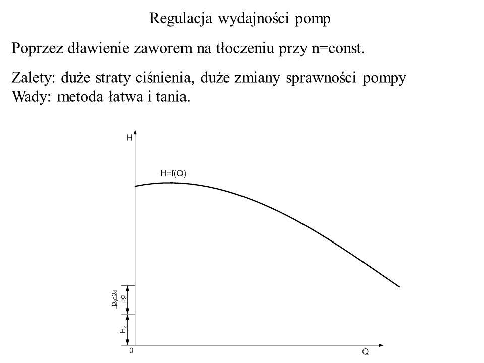 Poprzez dławienie zaworem na tłoczeniu przy n=const. Zalety: duże straty ciśnienia, duże zmiany sprawności pompy Wady: metoda łatwa i tania. Regulacja