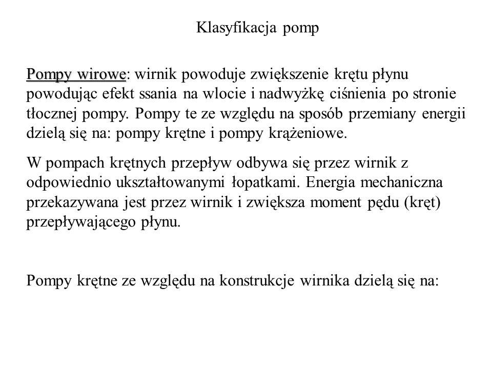 Klasyfikacja pomp Pompy wirowe Pompy wirowe: wirnik powoduje zwiększenie krętu płynu powodując efekt ssania na wlocie i nadwyżkę ciśnienia po stronie