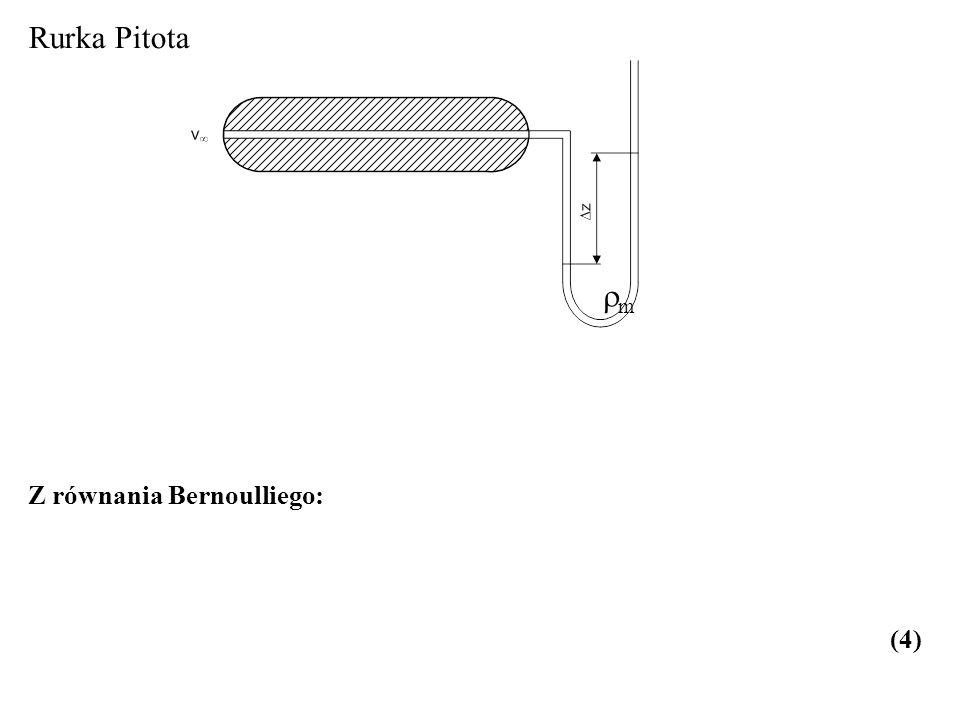Z równania Bernoulliego: (4) m Rurka Pitota