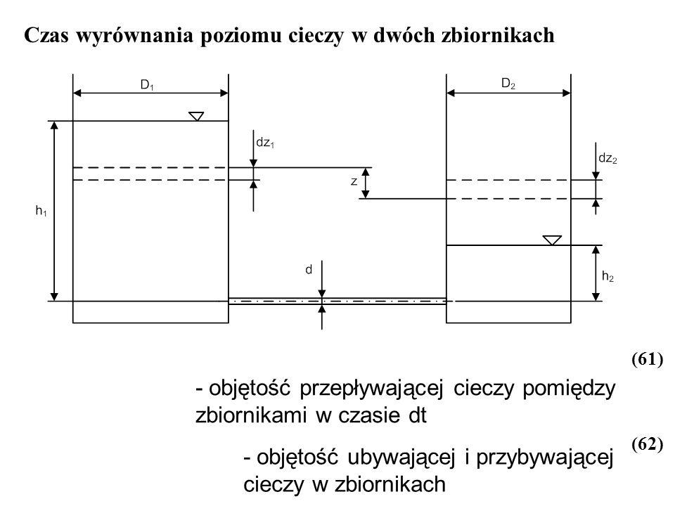 Czas wyrównania poziomu cieczy w dwóch zbiornikach - objętość przepływającej cieczy pomiędzy zbiornikami w czasie dt - objętość ubywającej i przybywaj