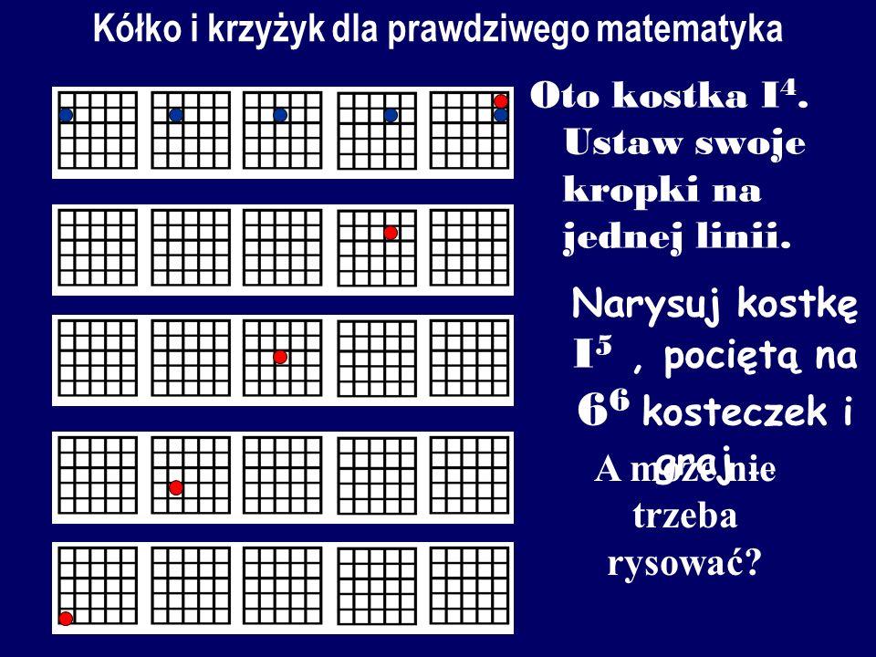 Kółko i krzy ż yk dla matematyka Potnijmy sześcian na 4 4 4 małe kostki. Gracze stawiają na przemian kółka i krzyżyki (albo kropki różnych kolorów) w