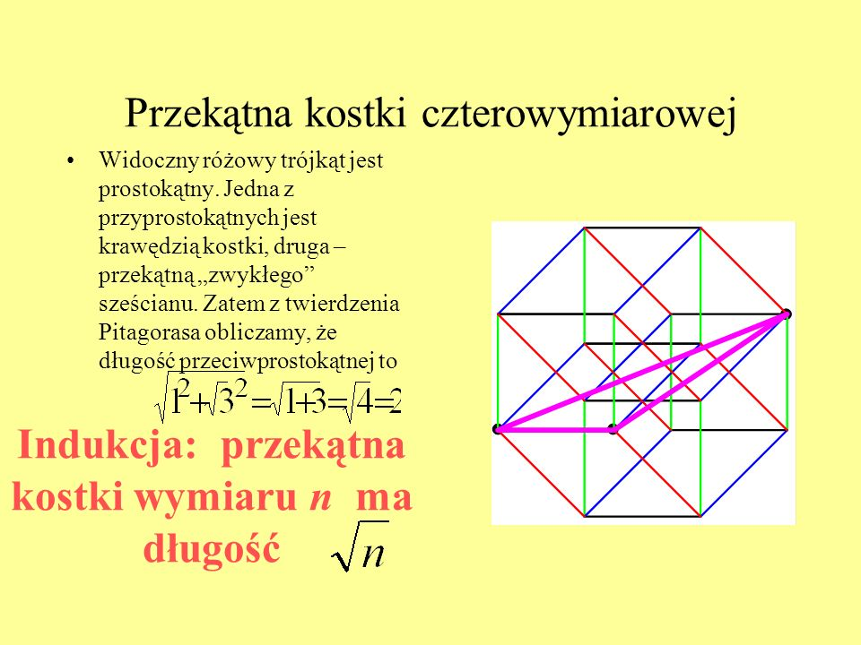 Przekątna kostki czterowymiarowej Widoczny różowy trójkąt jest prostokątny.
