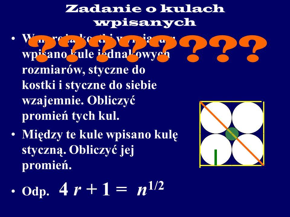 Zadanie o kulach wpisanych W naroża kostki wymiaru n wpisano kule jednakowych rozmiarów, styczne do kostki i styczne do siebie wzajemnie.