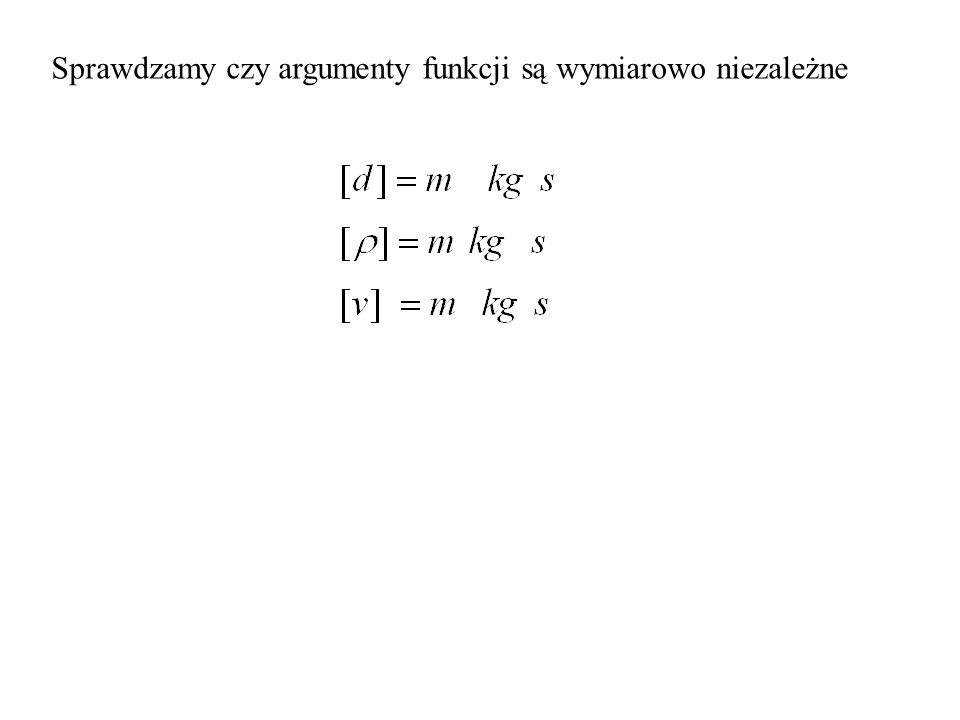 Sprawdzamy czy argumenty funkcji są wymiarowo niezależne