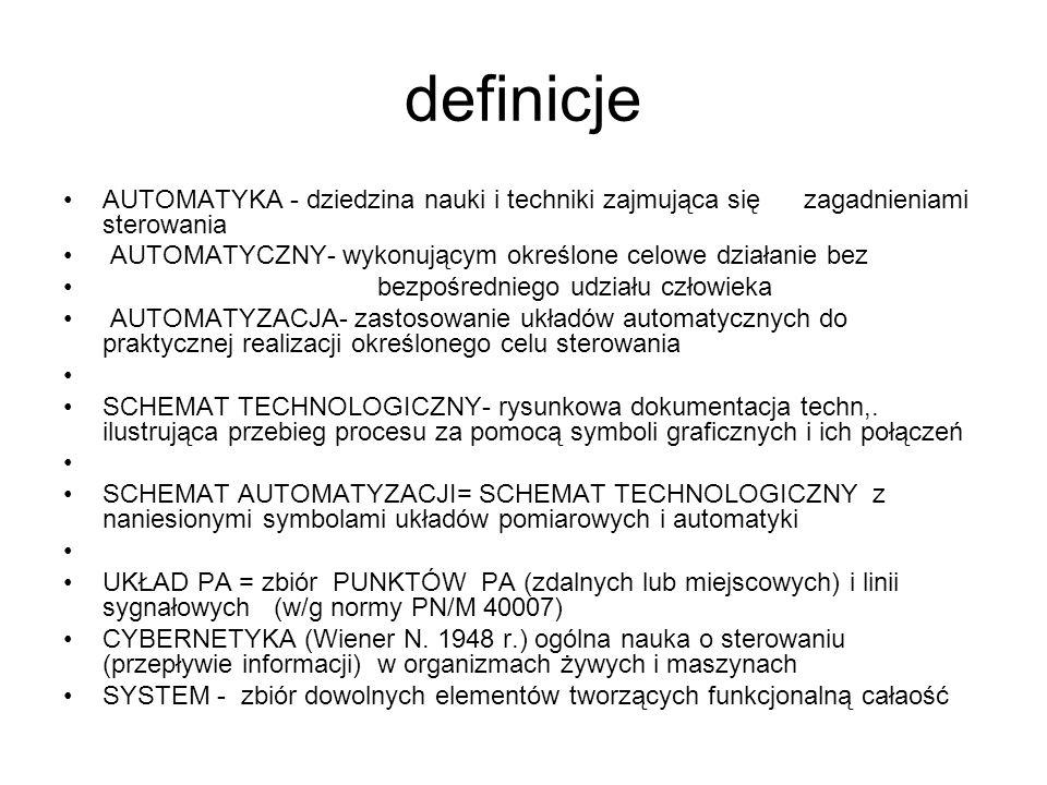 definicje AUTOMATYKA - dziedzina nauki i techniki zajmująca się zagadnieniami sterowania AUTOMATYCZNY- wykonującym określone celowe działanie bez bezp