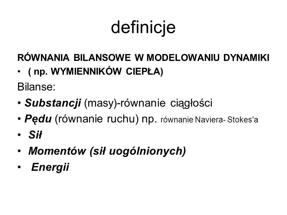 definicje RÓWNANIA BILANSOWE W MODELOWANIU DYNAMIKI ( np. WYMIENNIKÓW CIEPŁA) Bilanse: Substancji (masy)-równanie ciągłości Pędu (równanie ruchu) np.