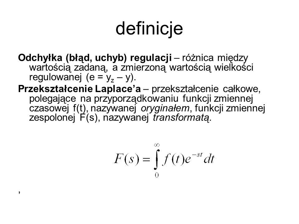 definicje Odchyłka (błąd, uchyb) regulacji – różnica między wartością zadaną, a zmierzoną wartością wielkości regulowanej (e = y z – y). Przekształcen