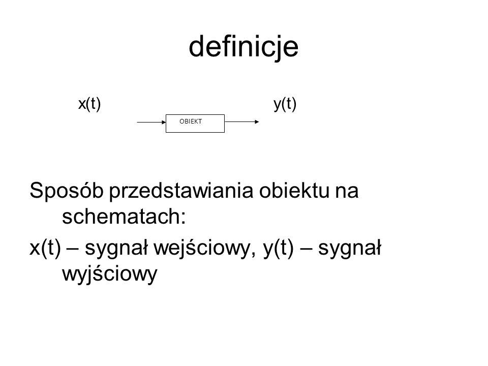 definicje x(t)y(t) Sposób przedstawiania obiektu na schematach: x(t) – sygnał wejściowy, y(t) – sygnał wyjściowy OBIEKT