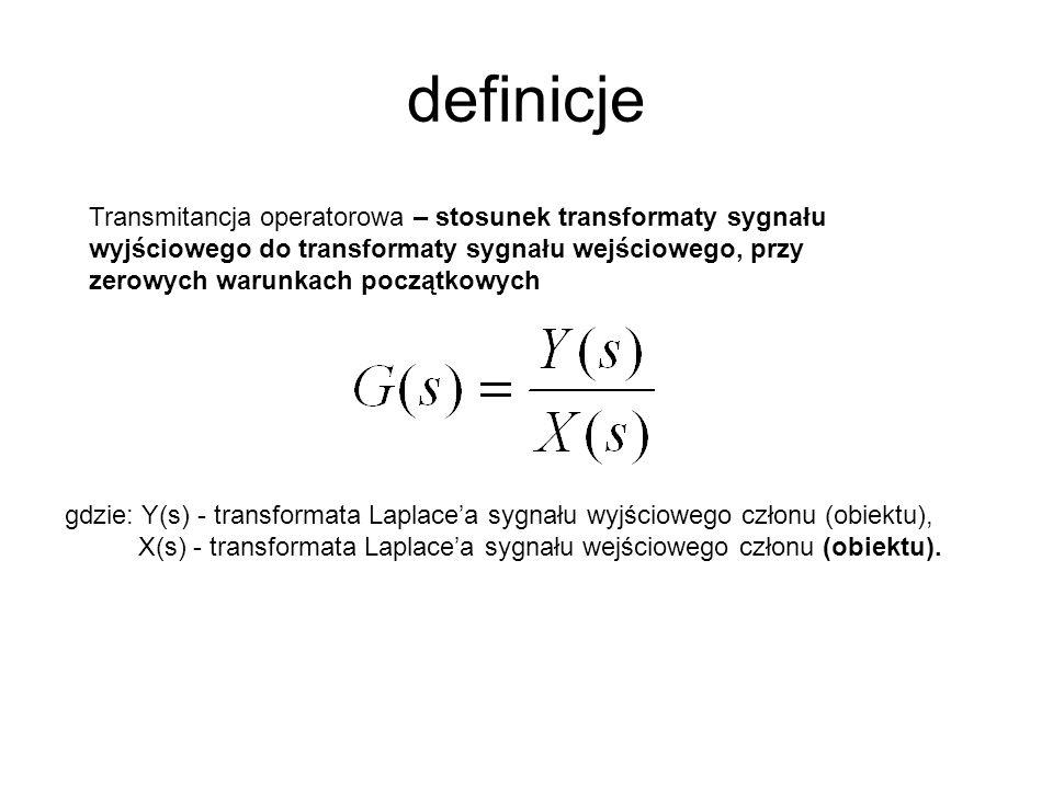 definicje gdzie: Y(s) - transformata Laplacea sygnału wyjściowego członu (obiektu), X(s) - transformata Laplacea sygnału wejściowego członu (obiektu).