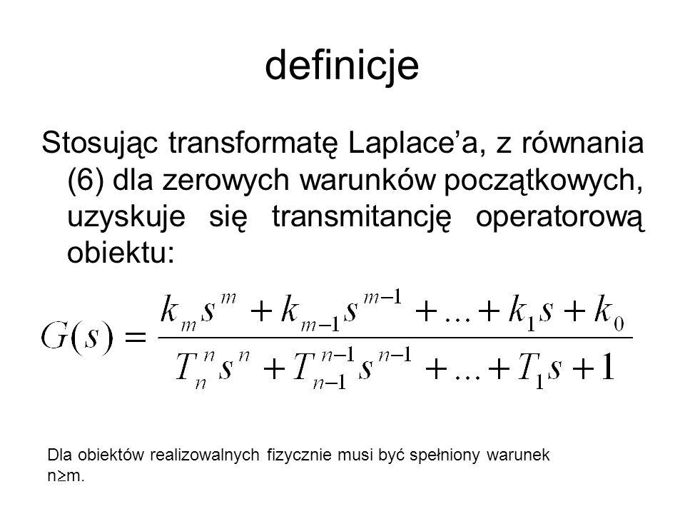 definicje Stosując transformatę Laplacea, z równania (6) dla zerowych warunków początkowych, uzyskuje się transmitancję operatorową obiektu: Dla obiek