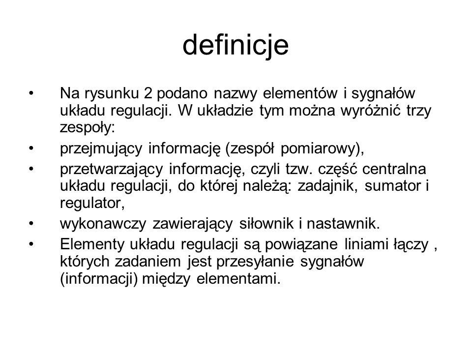 definicje Na rysunku 2 podano nazwy elementów i sygnałów układu regulacji. W układzie tym można wyróżnić trzy zespoły: przejmujący informację (zespół