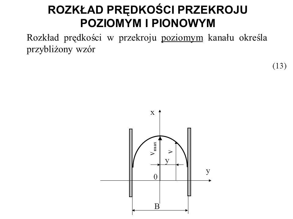 ROZKŁAD PRĘDKOŚCI PRZEKROJU POZIOMYM I PIONOWYM (13) Rozkład prędkości w przekroju poziomym kanału określa przybliżony wzór B y x y v max v 0